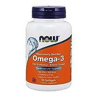 NOW Foods - Omega-3 伤寒的上漆的气味控制了分子被蒸馏的 1000 mg。90软胶囊