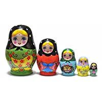 FinerMe Fine Work 俄罗斯美好娃娃马雷诺什卡木堆叠嵌套套装 5 件套儿童手工玩具圣诞节生日家居装饰万圣节礼物