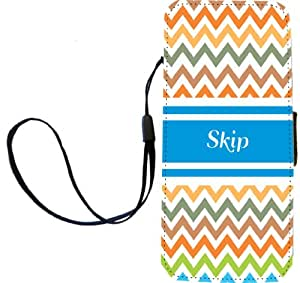 """Rikki Knight """"Skip"""" Blue Chevron Name Flip Wallet iPhoneCase with Magnetic Flap for iPhone 5/5s - """"Skip"""" Blue Chevron Name"""