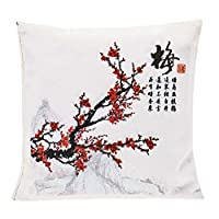 优雅艺术,装饰活性炭空气净化袋,采用传统亚洲艺术,枕形,1.1lb/500g,无香味,白色,细织布 紫红色