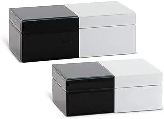K&K Interiors 16930A 2件套黑白斜面玻璃瓷砖首饰盒(毕业尺寸),黑色和白色