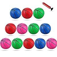 12 件 4 英寸(约 10.2 厘米)迷你玩具篮球,4 种颜色替换迷你玩具塑料篮球充气篮球带泵和篮球针,适合运动派对