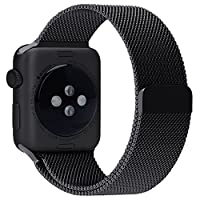 WOOZU沃卒Apple Watch表带 苹果手表3表带 净爽不锈钢系列表带 Apple Watch Series 2/3/1 42/44mm表带 苹果智能手表1/2/3三代通用表带 配Apple Watch 1/2/3代通用42mm透明表壳 iWatch 1/2/3 42/44mm表带 Apple Watch 3/2表带 Apple Watch 42mm新款米兰磁性搭扣表带 Apple Watch Series 3/2 42/44mm表带 (42/44mm, 石黑)