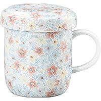 YAMAHI 馬克杯 白色 200ml 美濃燒 泉文山 帶蓋馬克杯 花 Y1560