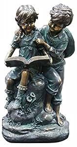 Alpine 女孩和男孩阅读在一起花园雕像 中 GXT266