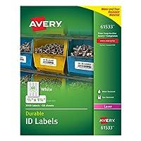 Avery 耐用白色封面 ID 標簽用于激光打印機,1.70 cm x 4.45 cm,3000 件 (61533)