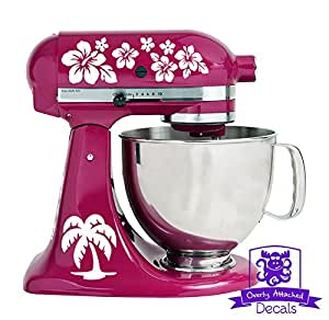 热带夏威夷棕榈树和花朵图案厨房立式搅拌机前后贴花套装 白色 eandflowerpattern-mx-White