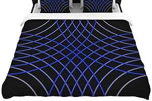 """KESS InHouse TK1092ADW03 编织羽绒被套 Trebam""""Cesta"""" 黑色蓝色数字大号双人床/加州大号双人床编织被套,264.16 X 223.52cm,"""
