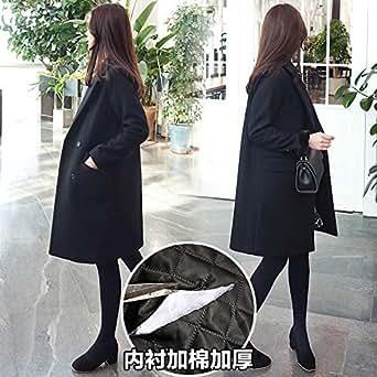 赫本风毛呢外套女中长款2018冬季新款流行黑色森系学生呢子大衣厚黑色加棉 XL