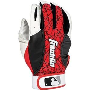 Franklin Sports MLB 2nd-Skinz 击球手套对,白色/红色 - 青少年 XS 码