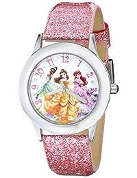 Disney 儿童 W000408 迪士尼 tween Glitz Princess 不锈钢手表,粉色闪光皮革表带