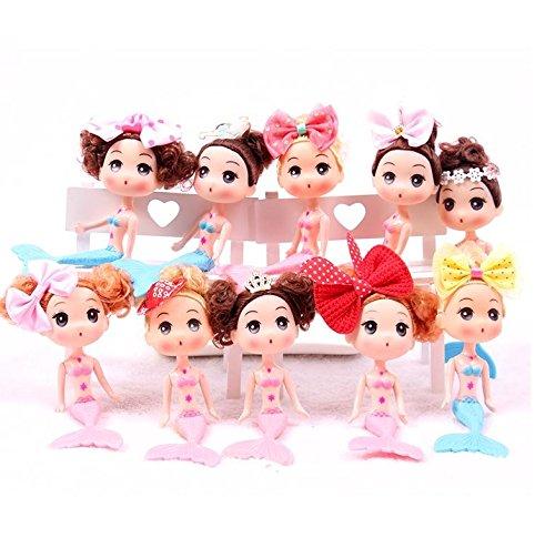 Astra 美人鱼 10 件套美人鱼娃娃蛋糕装饰公主生日派对礼品和用品,多种风格