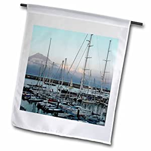 3dRose Horta Harbor 上的日落,皮科岛,背景花园旗帜,30.48 x 45.72 cm