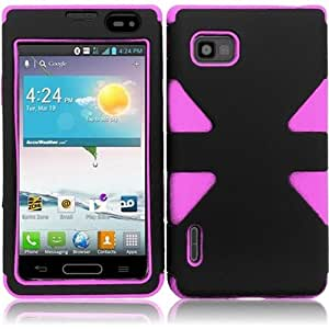 HR Wireless LG Optimus F3/MS659 Frosted TPU Case Protective Cover - Retail Packaging - Black