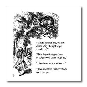 InspirationzStore 复古艺术 - 我应该从这里查西猫 - 爱丽丝梦游仙境引言 - 热烫转印 10-Inch ht_193784_3