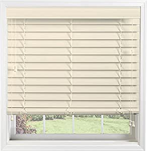 "Bali Blinds Custom Faux Wood 2"" Corded Blinds with Cord Tilt, 65 x 60"", Sandblast Buttermilk"