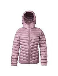 Rokka & Rolla Women's Ultra Lightweight Hooded Packable Puffer Down Jacket