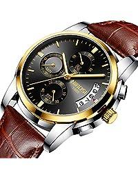 男式手表奢华时尚休闲礼服计时防水军事石英腕表 男式不锈钢表带