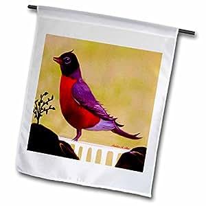 smudgeart 鸟艺术品设计–Robin redbreast parched ON A 栅栏–鸟艺术–旗帜 12 x 18 inch Garden Flag