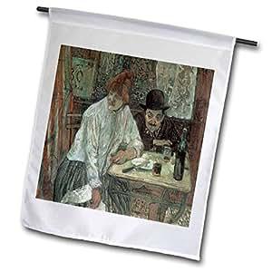 BLN 食物和餐厅 FINE ART 系列–A LA MIE HENRI DE toulouse-lautrec Couple IN A Restaurant–旗帜 12 x 18 inch Garden Flag