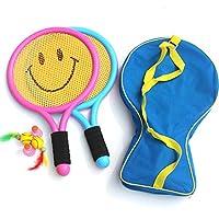 儿童球拍类玩具宝宝网球羽毛球拍小学生3-12岁户外运动套装2支38cm笑脸球拍6球背包