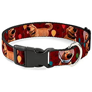 Buckle-Down Dug 4Poses/Balloons/Paw Print Reds Plastic Clip Collar MEDIUM - Fits 11-17 Inch (1.0 Inch WIDE)