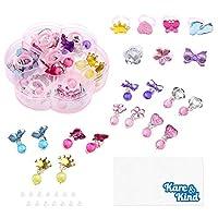 Kare & Kind 7 对耳环和 7 个戒指 – 耳环和戒指搭配设计适合女孩、青少年和成人 – 无需穿孔 – 装饰玩具首饰 – 个人使用或礼物