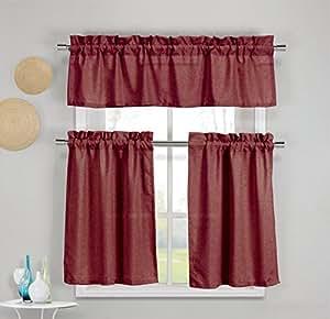 """3 件套人造棉厨房窗帘面板套装包含 1 个帷幔和 2 层窗帘 *红色 1 Valance 60""""x16"""", 2 Tier Panes 30""""x36"""" each KWC-BENNETON"""