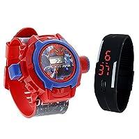 Pappi Boss 品质精良 - 儿童特殊玩具 - 2 件装 - 蜘蛛侠投影仪表带手表 + 果冻纤细黑色数字 LED 表带儿童、男童、女童