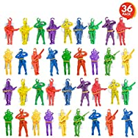 ArtCreativity 带降落伞迷你伞,36 个散装,乙烯基降落伞男士玩具,多种颜色,耐用的塑料*玩具,趣味降落伞派对礼物,适合男孩和女孩