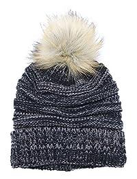 女士慵懒针织无檐小便帽:摇粒帽人造毛皮绒毛球超大码滑雪帽