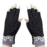 JINTN 女式女童半指太阳手套薄透气防滑驾驶手套短骑行锻炼手套