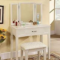 HomeRoots 实木及其它珍珠白色过渡梳妆台,带凳子,白色饰面