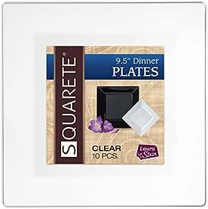 Squarete 24.13 cm 透明晚餐方形派对盘子 硬塑料 优雅 一次性 每包 10 个方形餐盘 CLEAR PLATES LSSQ-P9-C