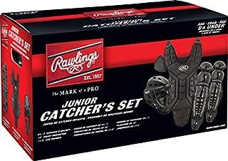 """Rawlings Player 系列 Jr. 适合年龄 9 岁及以下的青少年捕手套装 黑色 CH: 6 1/2-7 CP: 13"""" LG: 11.5"""""""