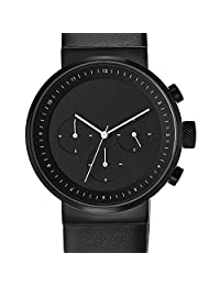 PROJECTS WATCHES Kiura Chronograph, Black Dial with Leather Band 石英男女适用手表 5160B BL-40(亚马逊进口直采,美国品牌)