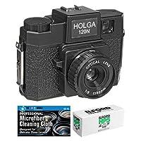Holga 120N 中号格式胶片相机 配有 Ilford HP5 120 胶片包和超细纤维布120N K1  黑色