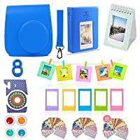Fujifilm Instax Mini 9 Camera Accessories Bundle, 11 PC Kit Includes: COBALT BLUE Instax Case + Strap, 2 Albums, 4 Color Filters, Selfie lens, Magnets + Hanging + Creative Frames, stickers, Gift Box