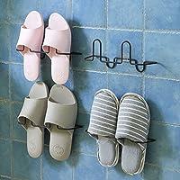 【粘贴式铁艺鞋架】粘贴式铁艺鞋架浴室拖鞋架子家用创意鞋托架鞋收纳架 (铁艺鞋架4对)