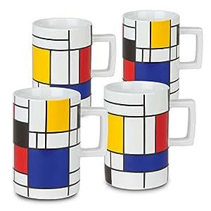Konitz Homage To Mondrian 马克杯(4 件套),白色 白色 4 件套 44 1 314 0708