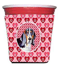 Basset Hound Hearts Love and Valentine's Day Portrait Michelob Ultra Koozies for slim cans LH9147MUK 多色 Red Solo Cup