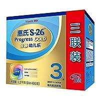 惠氏WyethS-26幼儿乐奶粉3段12-36月幼儿配方1200克(盒装400克*3袋)