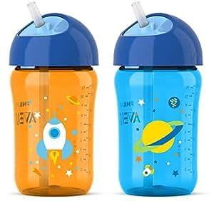 飞利浦 Avent My Twist N Sip 吸管杯蓝色/橙色,12 盎司,第 3 阶段