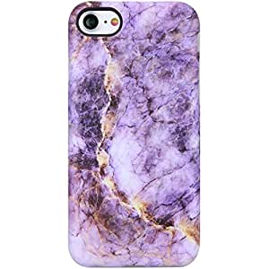 "iPhone 7手机壳 iPhone 4手机壳 vivibin 减震哑光 TPU 软硅胶橡胶防护封面手机保护套适用于 iphone 7/ iphone 811.9cm Purple and Gold Marble-131 4.7"""