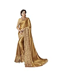 Nivah Fashion 女士莱卡重绣花上衣衬衫 Pice Saree K817-金色