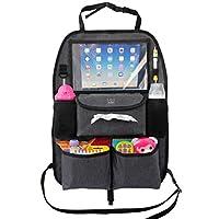儿童玩具和婴儿湿巾后座椅汽车收纳袋 带 X-L iPad 平板电脑架 + 附赠 HOOK,豪华耐用面料,充足存储,牢固贴合,易于安装,座椅背面的踢垫保护装置