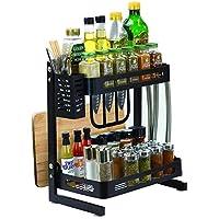 Sorbus 层厨房调味料架餐具架,台面独立架收纳罐,瓶子等,包括刀,餐具,砧板存储,外加 3 个挂钩,金属 黑色 2-Tier DR-CT2A