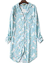 PNAEONG 女式法兰绒 * 棉睡衣 系扣男友睡衣 中长款睡衣 睡衣上衣 Bluerabbit Medium
