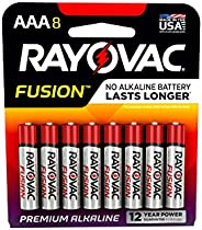 FUSION by Rayovac High-Performance 9V Alkaline Batteries AAA 8