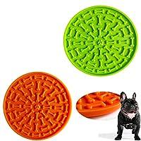 Tysons Pet Treats 2件套狗舔垫,沐浴和*慢速喂食器,分心设备,背部强力吸盘,训练 - 只需添加花生酱(*和橙色)